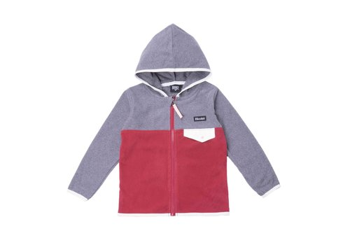 Kangaroo Zip Fleece Camping Charcoal-Burgundy