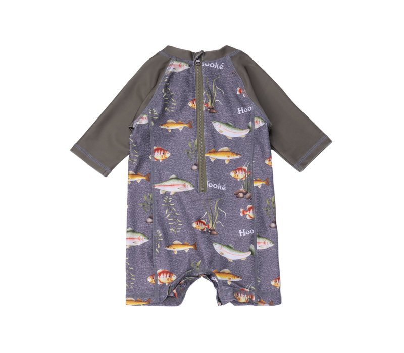Multi Fishes UV Swimsuit Charcoal