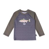T-Shirt Maillot UV Truite Arc-en-ciel Charbon & Olive