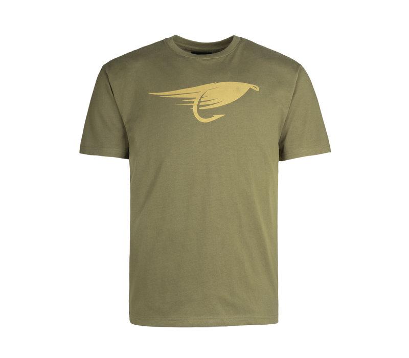 T-Shirt Mouche Hooké Vert-Olive Militaire