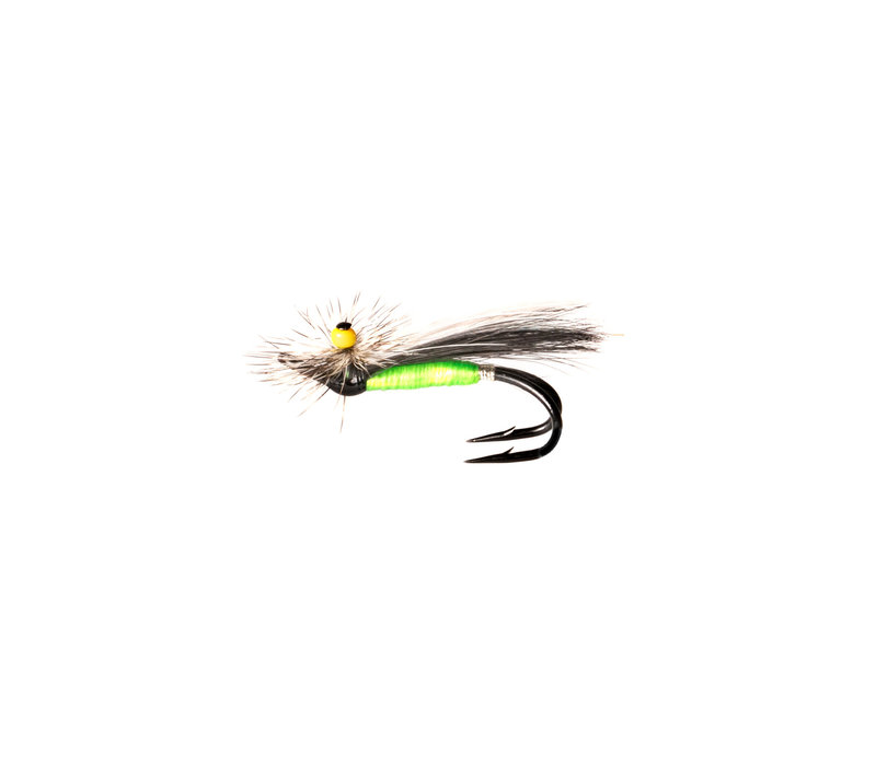 Ghost Stone Fly Green Body/Black Wing/w.Marabou/Grizzly Hackle (Black Double)
