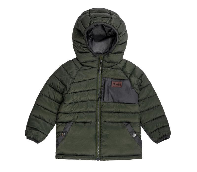 Manteau isolé à capuchon Vert & Charbon