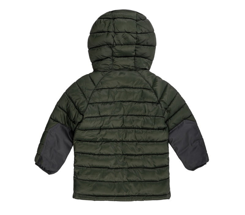 Insulated Hood Jacket Green & Charcoal
