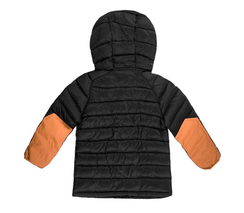 Manteau isolé à capuchon Noir et Jaune