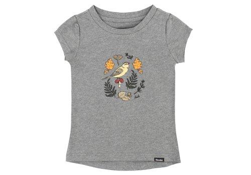 Hooké T-Shirt Oiseau et Feuillage Gris Mix pour enfants