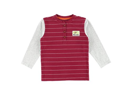 Hooké Henley Striped Moose Patch T-Shirt Burgundy
