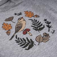 Cache-Couche Oiseau et Feuillage Gris Mix