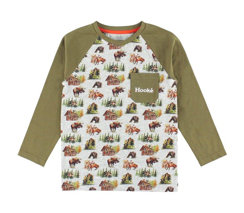 Woodland Raglan T-Shirt Olive