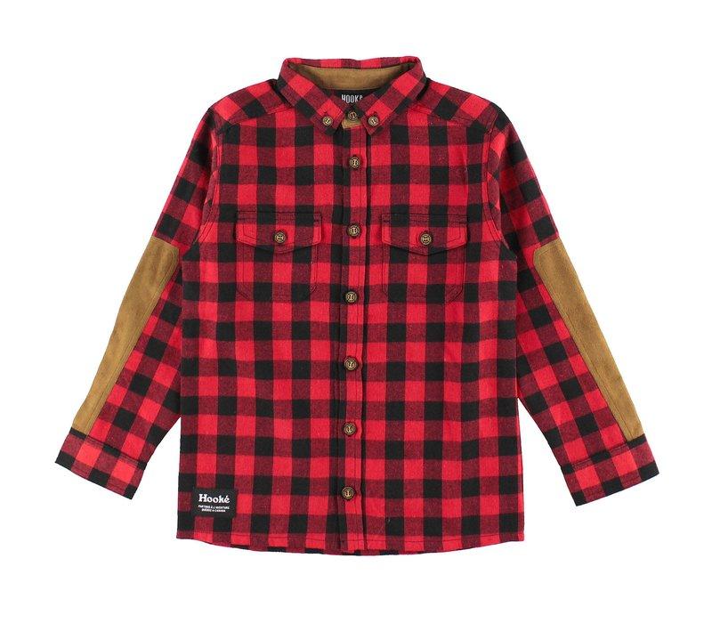 Chemise canadienne en flanelle rouge & noire pour enfants
