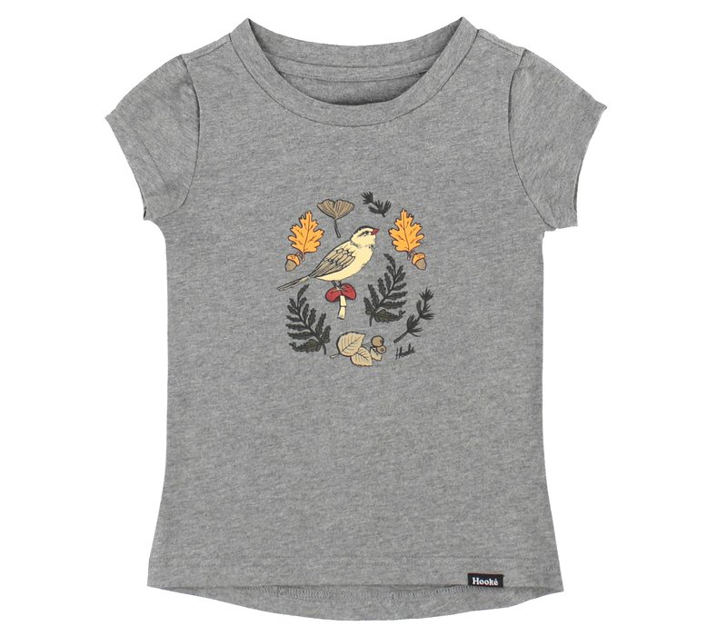 Bird and Foliage T-Shirt Heather Grey for kids