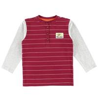 Henley Striped Moose Patch T-Shirt Burgundy