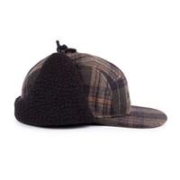 Ear Flap Camper Hat Olive Plaid