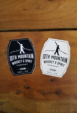 "10th Mountain Whiskey & Spirit Co. Sticker - 4"" Barrel Logo White"
