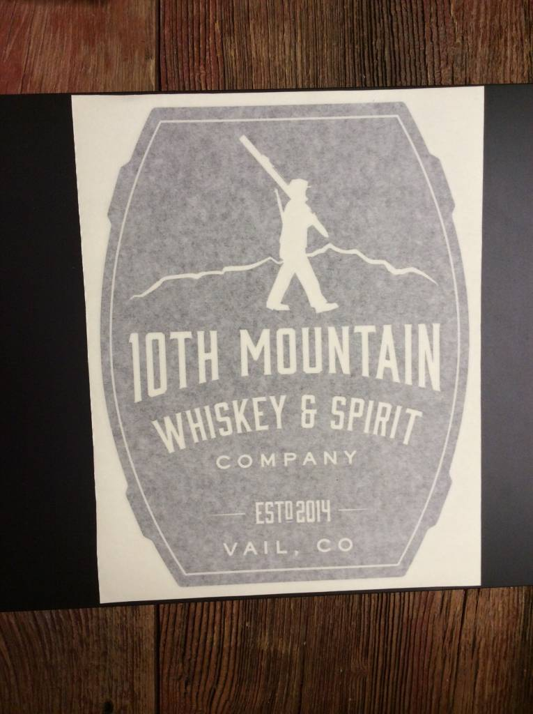 10th Mountain Whiskey & Spirit Co. Sticker-Big, Barrel Logo, Black