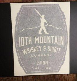 10th Mountain Whiskey & Spirit Co. Sticker-Big, Barrel Logo, Black