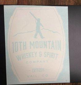 10th Mountain Whiskey & Spirit Co. Sticker-Big Barrel Logo, White