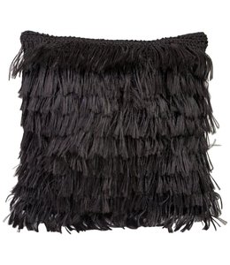 ANGELA DAMMAN BLACK FRINGE PILLOW