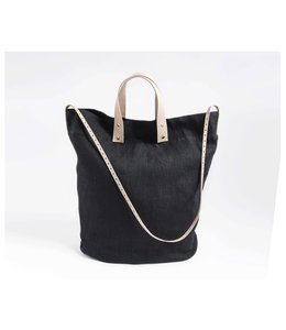 CELINA MANCURTI THE EVERYDAY LINEN TOTE : BLACK