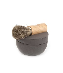 SHAVING SET   :   BOWL W/ CEDARWOOD SOAP + BRUSH