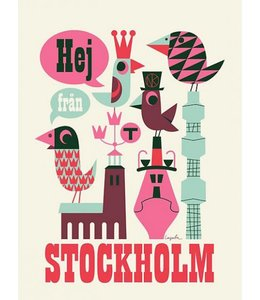 HELLO FROM STOCKHOLM PRINT, WHITE : UNFRAMED