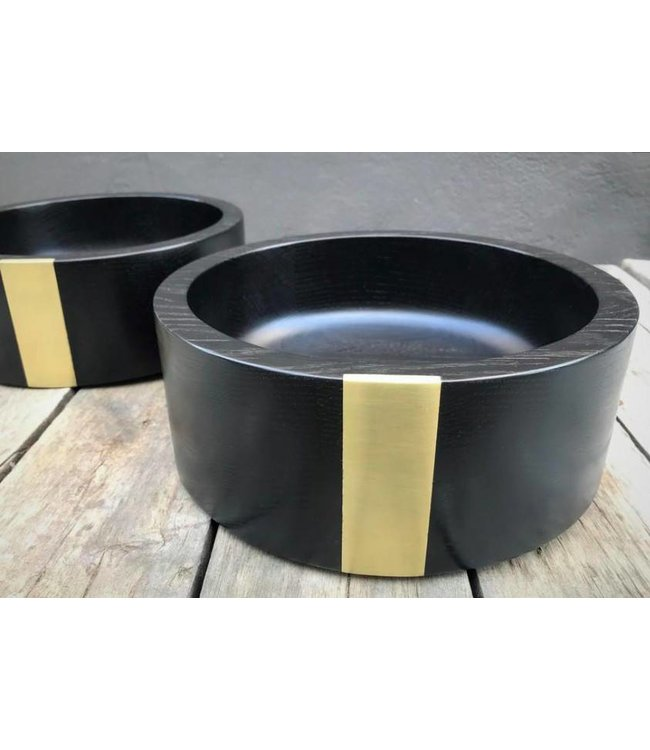 MOD SERVING BOWL WITH SOLID BRASS INLAY  :  EBONIZED OAK