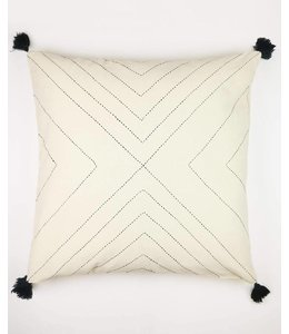 BONE GEOMETRIC TASSEL THROW PILLOW