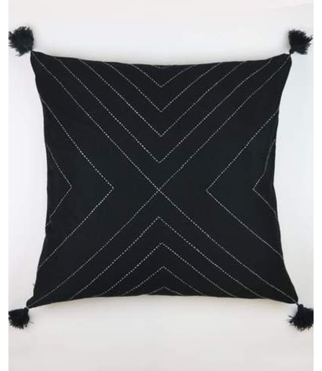 CHARCOAL GEOMETRIC TASSEL THROW PILLOW