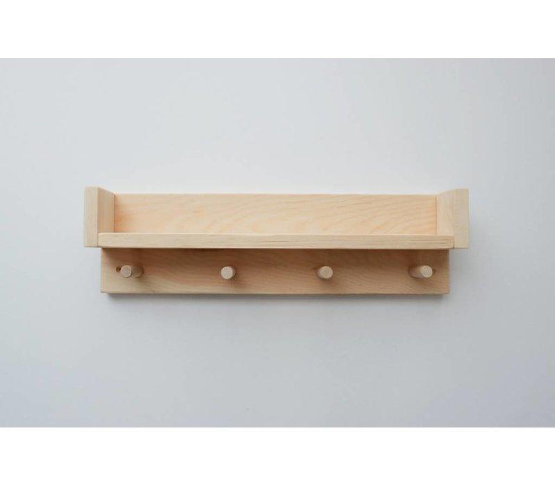 Wood shelf - 4 hooks