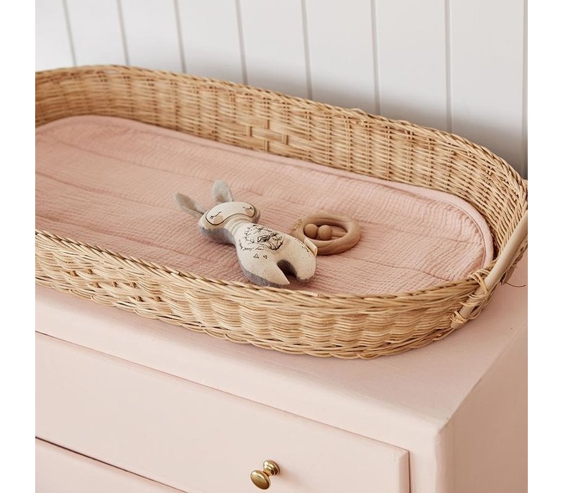 Changing basket - luxe organic cotton insert - Rose / PRE-ORDER