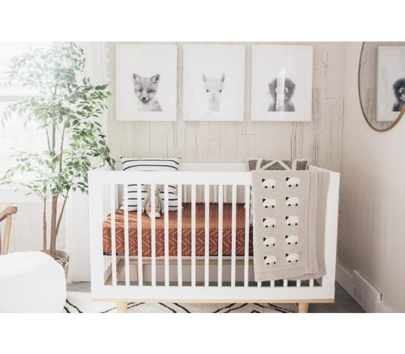 Rust mudcloth crib sheet