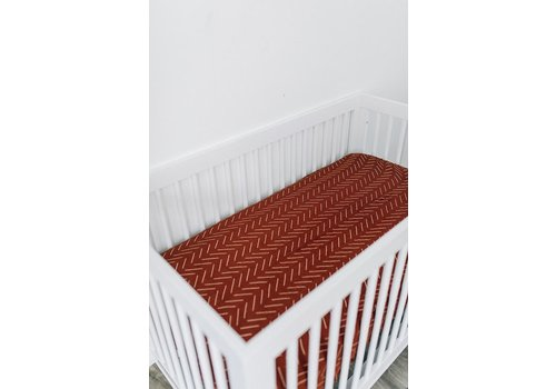 MEBIE BABY Rust mudcloth crib sheet