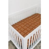 Mustard mudcloth crib sheet