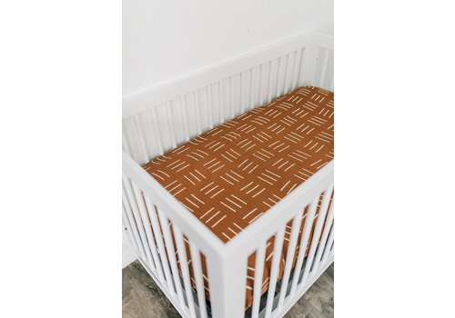 MEBIE BABY Mustard mudcloth crib sheet
