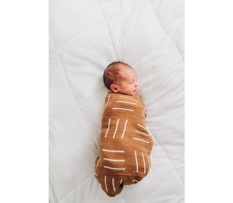 Mustard mudcloth swaddle blanket