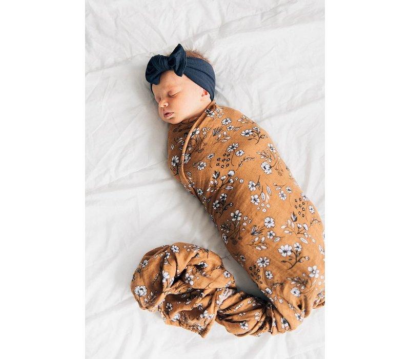 Vintage floral mudcloth swaddle blanket