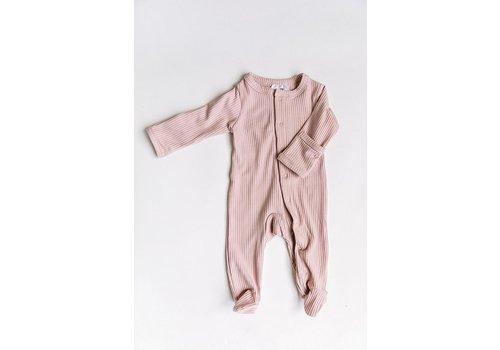 MEBIE BABY Petal pink ribbed footie
