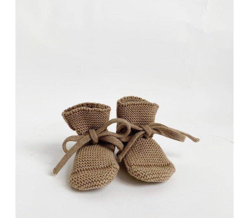 Merino wool booties - Camel