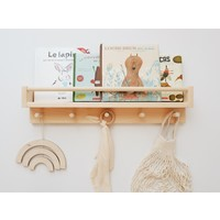 Book shelf with hooks