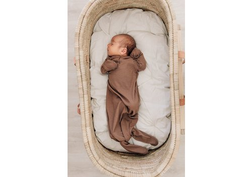 MEBIE BABY Cocoa ribbed knot gown
