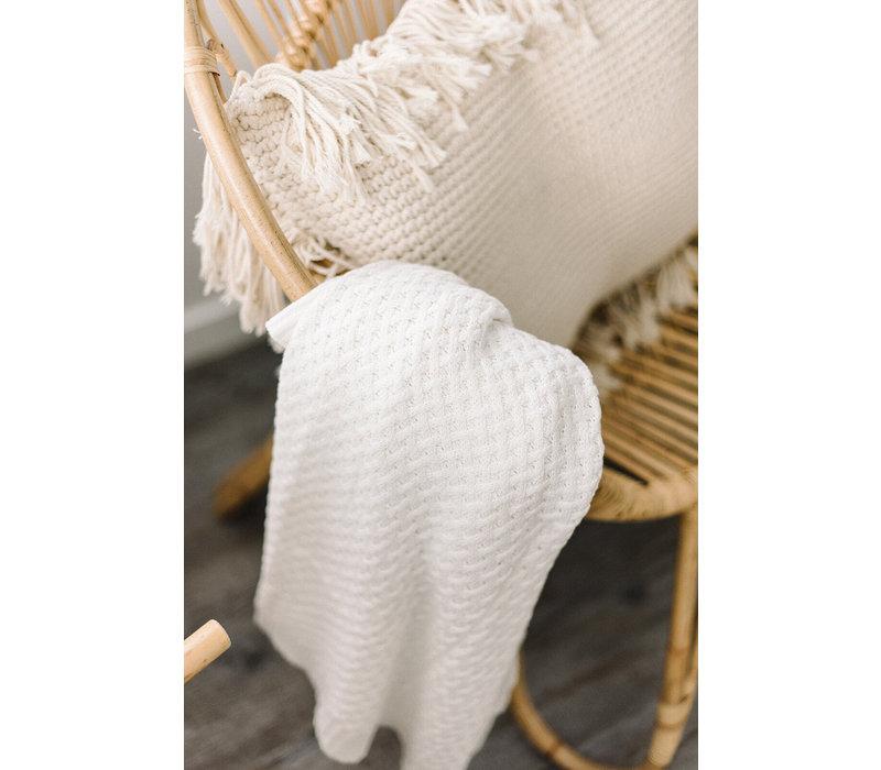 Diamond knit blanket - Cream
