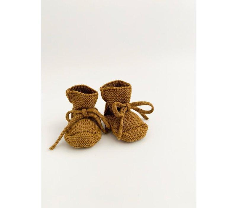 Merino wool booties - Mustard
