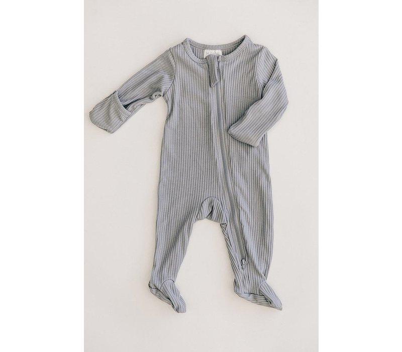 Grey zipper footie