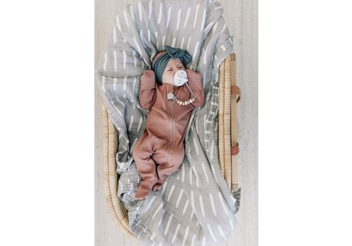 MEBIE BABY Pyjama à zip côtelé  - Dusty rose