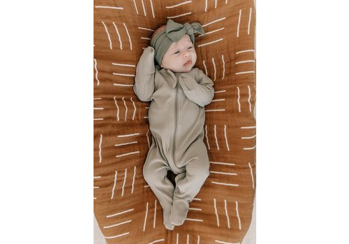 MEBIE BABY Sagebrush ribbed zipper footie