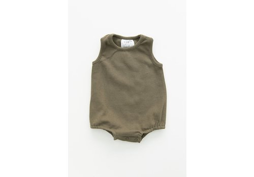 MEBIE BABY Olive cotton bubble romper