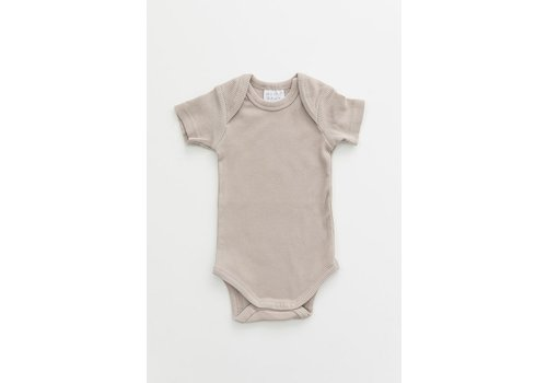 MEBIE BABY Oatmeal organic cotton ribbed bodysuit
