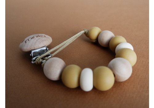 MINIKA Wood soother clip - Caramel boho