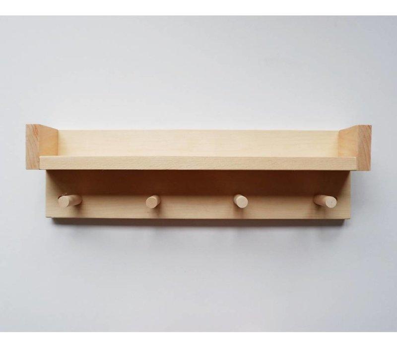 Étagère en bois - 4 crochets