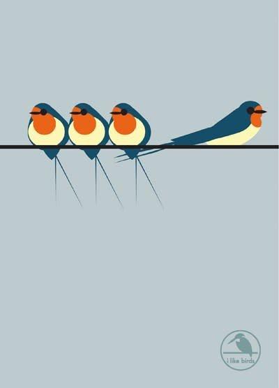 Quadrille Publishing I Like Birds: Swallows on a Line Hardback Notebook