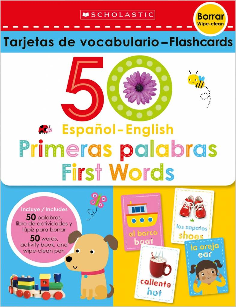 Cartwheel Books Flash Cards Set - 50 Spanish-English First Words (Scholastic Early Learners)